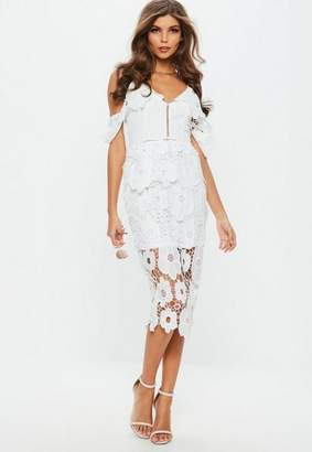 Missguided White Strappy Frill Lace Midi Dress