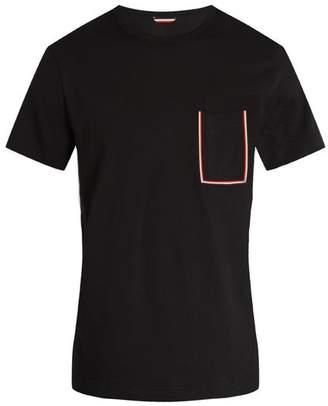 Moncler Striped Patch Pocket Cotton T Shirt - Mens - Black