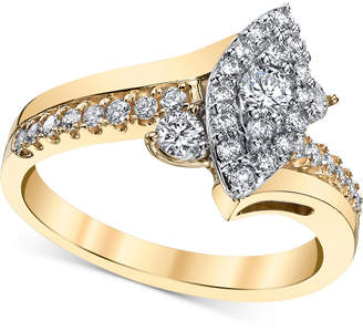 Macy's Diamond Marquise-Cluster Twist Engagement Ring (5/8 ct. t.w.) in 14k Gold