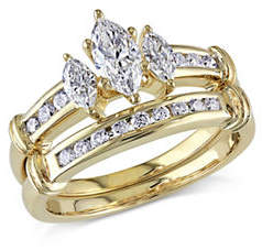 HBC CONCERTO 1CT Diamond 14K Yellow Gold Three-Stone Bridal Set