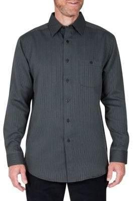 Haggar Birdseye Striped Regular-Fit Button-Down Shirt