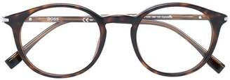 HUGO BOSS tortoise-shell effect round glasses