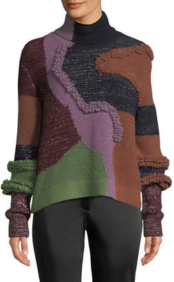 Peter Pilotto Turtleneck Patchwork Knit Pullover Sweater w/ Metallic