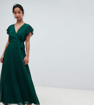 Asos DESIGN Petite pleated maxi dress with flutter sleeve