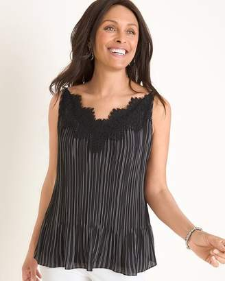 Chico's Chicos Convertible Striped Pleated Lace-Detail Tank