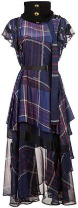 Sacai checked ruffled dress