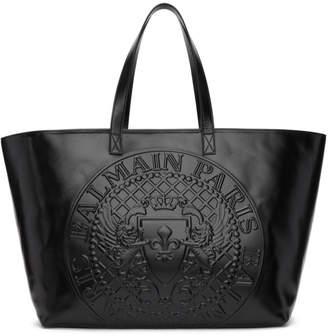 Balmain Black Logo Shopping Horizontal Tote