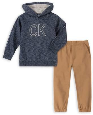 Calvin Klein Little Boy's 2-Piece Cotton-Blend Hoodie Cotton Pants Set