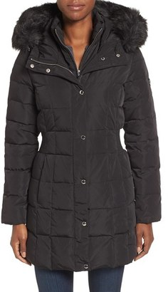 Women's Calvin Klein Hooded Water Resistant Puffer Coat With Faux Fur Trim $328 thestylecure.com