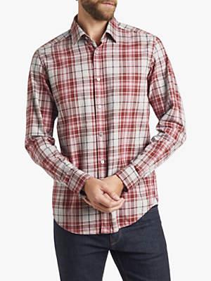 HUGO BOSS BOSS Twill Slim Fit Check Shirt, Open Purple