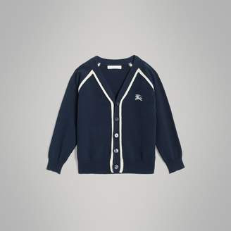 Burberry Two-tone Cotton Knit Cardigan , Size: 10Y, Blue