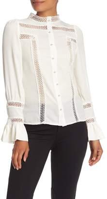 Gracia Lace Trim Flare Sleeve Button Down Shirt