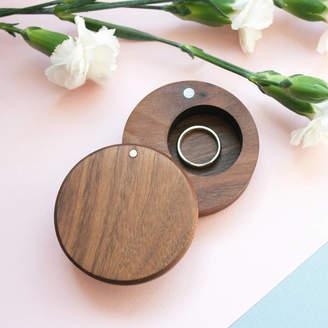 Keepsake Wood Paper Scissors Walnut Wood Round Ring Box