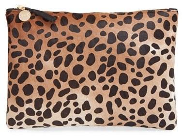 Clare V. Genuine Calf Hair Leopard Print Zip Clutch - Beige
