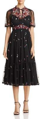Kate Spade Camelia Embroidered Dot-Print Dress