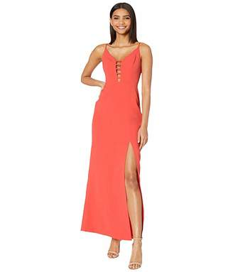 BCBGMAXAZRIA Cut Out Detail Evening Gown with High Slit