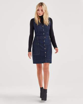 7 For All Mankind Utility Denim Mini Dress in Utility Rinse