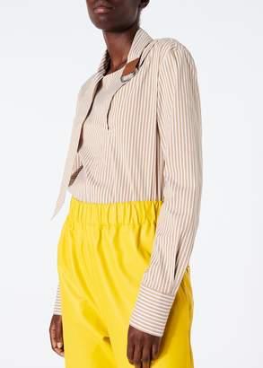 Tibi Kaia Stripe Asymmetric Tie Collar Shirt