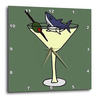 3dRose Fun Shark Swimming in Martini Glass, Wall Clock, 10 by 10-inch
