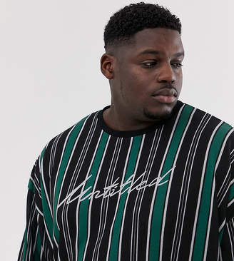 UNTITLED Asos Design ASOS DESIGN Plus oversized long sleeve t-shirt with vertical stripe and print
