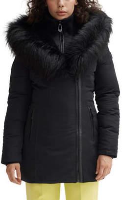 Noize Faux Fur Hooded Mid-Length Parka Coat