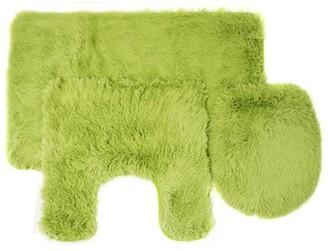 Popular Bath Fluff 3 Piece Faux Fur Bathroom Rug, Contour and Lid Cover Set