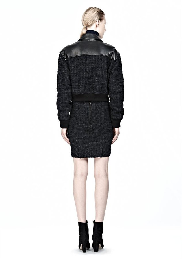 Alexander Wang Nubby Tweed With Leather Bomber