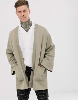 Asos Design DESIGN jersey kimono cardigan in light khaki