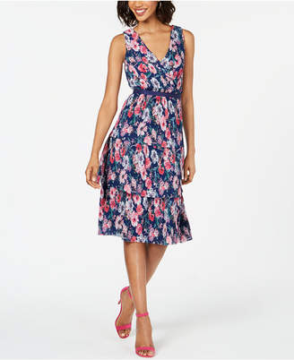 Adrianna Papell Pleated Floral-Print A-Line Dress