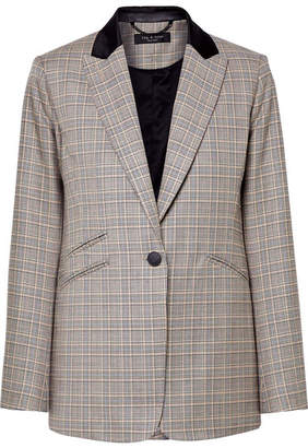Rag & Bone Ridley Velvet-trimmed Checked Wool And Cotton-blend Blazer - Gray