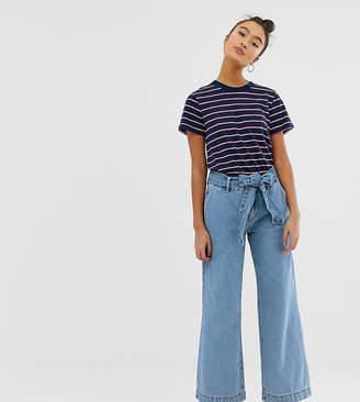 Pimkie tie waist wide leg trousers in blue