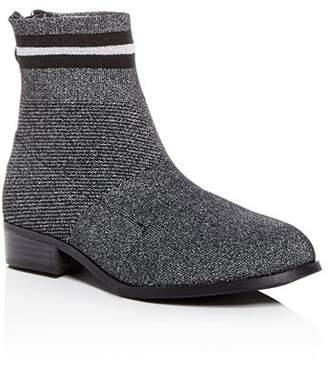 Steve Madden Girls' JGallery Glitter Knit Low-Heel Booties - Little Kid, Big Kid