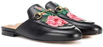 Gucci Princetown appliquéd leather slippers