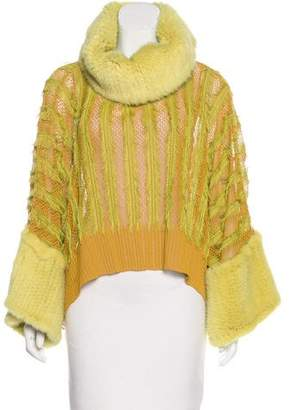 Christian Dior Mink-Trimmed Knit Poncho w/ Tags