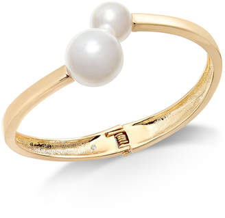 Inc International Concepts I N C Gold Tone Imitation Pearl Bangle Bracelet