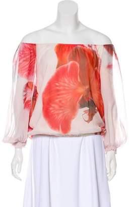 Alice + Olivia Floral Print Silk Blouse