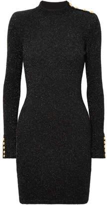 Balmain Button-embellished Metallic Stretch-knit Mini Dress - Black