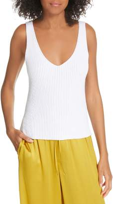 Vince Directional Rib Cotton Knit Tank Top
