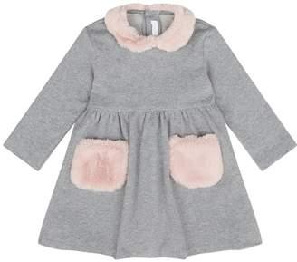 Il Gufo Faux Fur Collar Dress