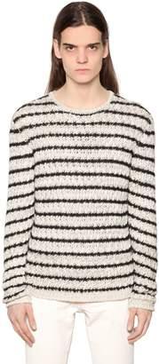 John Varvatos Striped Cotton Blend Knit Sweater