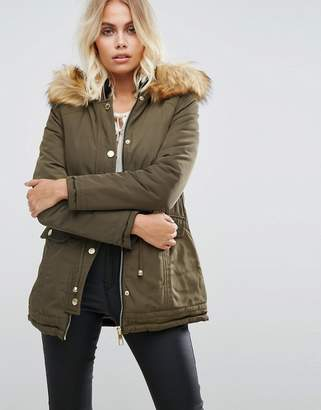 Lipsy Reversible Parka with Fur Hood