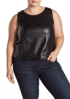 ELOQUII Premier Faux Leather Tank Top (Plus Size)