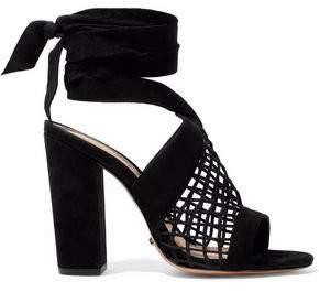 Schutz Bamby Lattice-Paneled Suede Sandals
