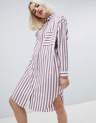 Monki Oversized Stripe Shirt Dress