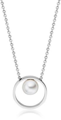 Skagen Agnethe Silver-Tone Pearl Pendant Necklace