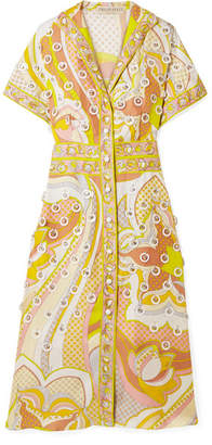 Emilio Pucci Embellished Printed Silk-twill Dress - Yellow