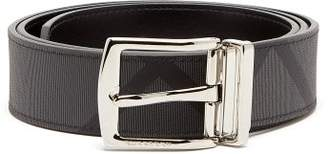 Burberry London Check Leather Belt - Mens - Grey