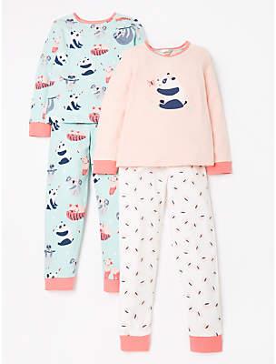 John Lewis & Partners Girls' Panda Print Pyjamas, Pack of 2, Pink/Blue