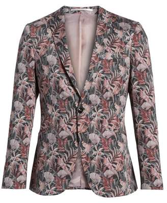 Topman Ultra Skinny Fit Hibiscus Print Suit Jacket