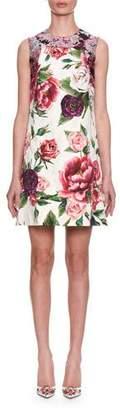 Dolce & Gabbana Sleeveless Rose Peony Jacquard & Brocade Shift Day Dress